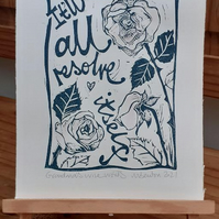 'Grandma's Wise Words' Lino Print