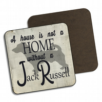 Jack Russell Drinks Coaster Wooden Jack Russell Dog Gift Gloss Finish C090