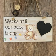 Baby Countdown Sign-Baby Countdown Plaque-Baby Announcement-Baby Shower-N3