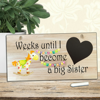Big Sister Baby Countdown Sign-Baby Countdown Sign-Baby Shower Gift-N6