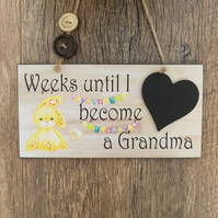 Baby Countdown Sign-Grandparent Pregnancy Announcement-Baby Countdown Sign-N11