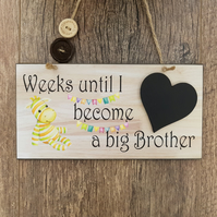 Baby Countdown Sign-Big Brother Countdown Plaque-Baby Shower Gift-New Baby-N7