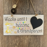 Baby Countdown Sign-Grandparent Pregnancy Announcement-Baby Countdown Sign-N13