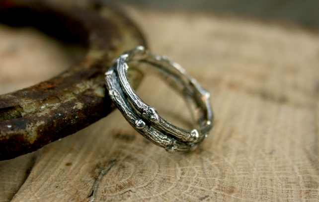 Chunky Silver Double Twig Ring