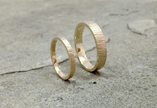 9ct Yellow Gold Tree Bark Wedding Rings