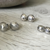 Petite Silver Moon Earrings - 6mm diameter