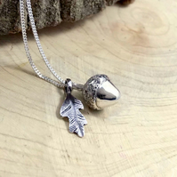 Silver Acorn and Oak Leaf Necklace