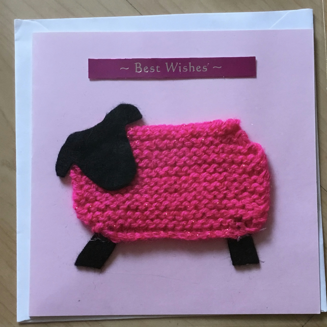 Knitted sheep birthday card, best wishes card, pink sheep