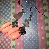 Real Cowry Shell Bee Earrings