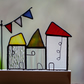 Stained glass houses with bunting sun catcher ornament quirky housewarming gift