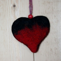 Heart hanging in fleted wool