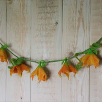 Pumpkin flowers garland in felted wool