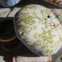Green Flower and Polka Dot Pin Cushion