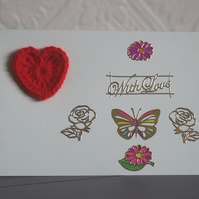 Flower, Butterfly and Crochet Heart Anniversary Card
