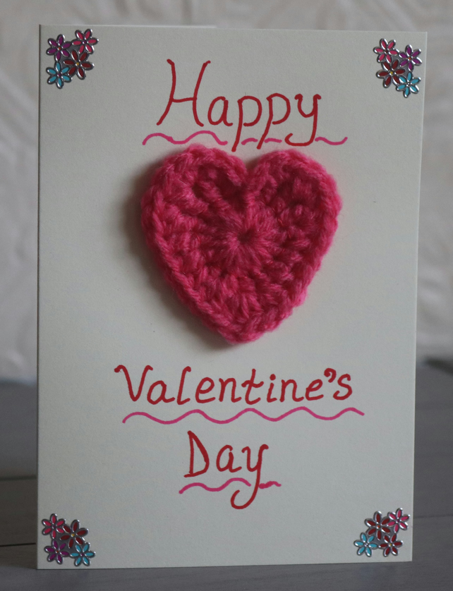 """Happy Valentine's Day"" Flower and Crochet Heart Card"