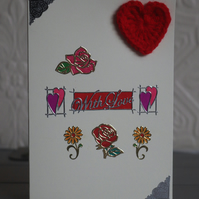 """With Love"" Flower and Crochet Heart Anniversary Card"