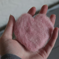 Pink Needle Felted Love Heart