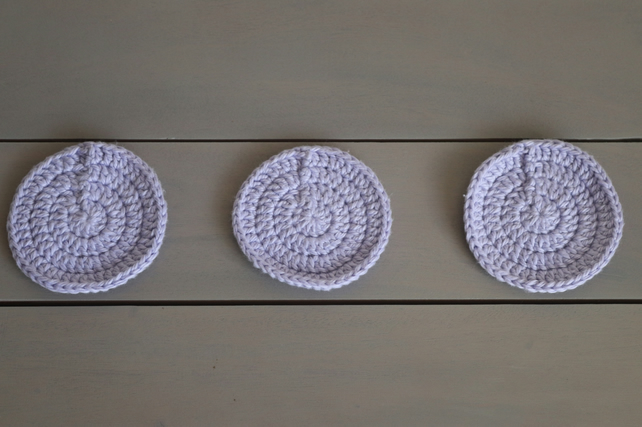 Reusable Lilac Crochet Cotton Face Scrubbies