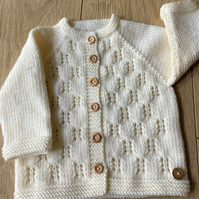 Baby cardigan to fit up to 9 months - hand knitted in cream