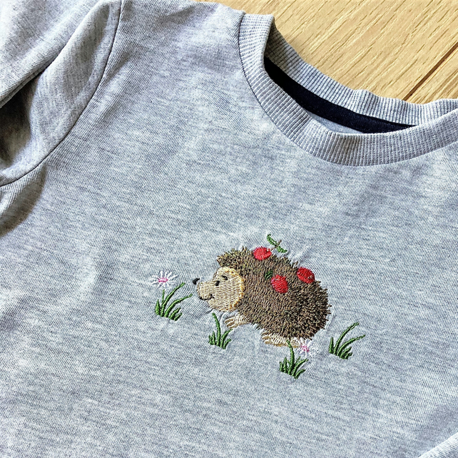 Child's long sleeve embroidered t shirt - grey marl 9-12 months
