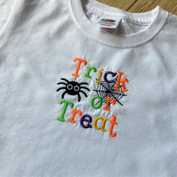 Child's Trick or Treat embroidered t shirt - age 2 - 3 years