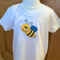 Child's applique Bee t shirt aged 2 - 3 years