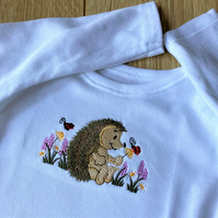 Embroidered Baby bodysuit  t shirt to fit 0 - 3 months in white