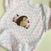Baby bodysuit with embroidered hedgehog to fit 0 - 3 months
