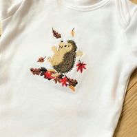 Long Sleeve White Baby Bodysuit 0-3 Months with hedgehog embroidery