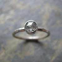 Rose cut, salt and pepper diamond ring - Handmade gold engagement ring