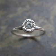 Modern diamond engagement ring -Handmade gold engagement ring