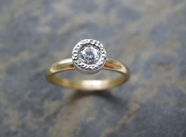 18ct gold solitaire diamond ring - Unique textured bezel engagement ring