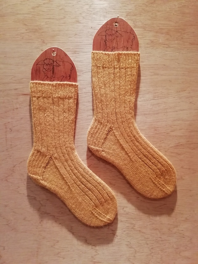 SALE: hand knitted socks SMALL size 4-5 - alpaca wool blend