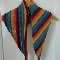 Hand knitted rainbow triangle scarf