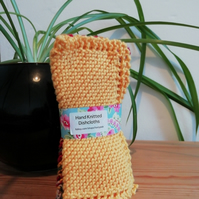 Hand knitted cotton dishcloths: set of 3