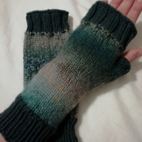 Hand knitted chunky fingerless gloves