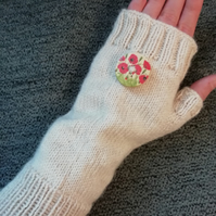 Hand knitted fingerless gloves - Poppy button detail