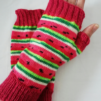 Hand knitted fingerless gloves - Watermelon