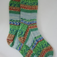 Hand knitted socks, MEDIUM, size 5-6 - Monet - Barn at Giverny