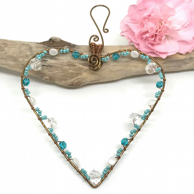 Turquoise Heart Decoration, Antique Bronze