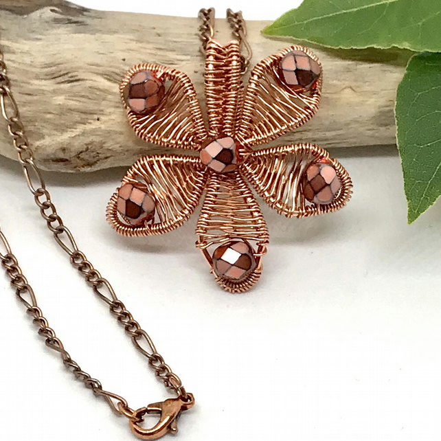 Flower Pendant Necklace, Copper