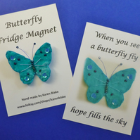 Butterfly fridge magnet 'Turquoise'