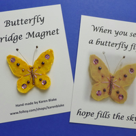 Butterfly fridge magnet 'yellow and pink'