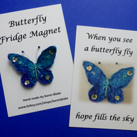 Butterfly fridge magnet 'Purple and turquoise'