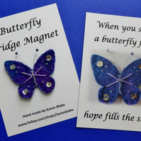 Butterfly fridge magnet 'purple and silver'