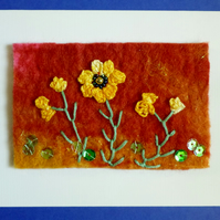 card with orange poppies