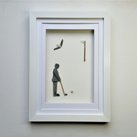 Pebble Art Golfer, Gift for Golfers, Unusual Christmas Gift Idea