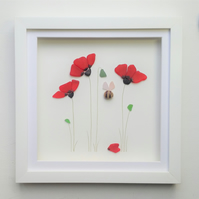 Sea Glass Poppies, Unusual Gift for Her, Anniversary Gift Idea