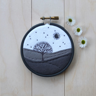 Monochrome Mini Landscape with Tree Framed Hoop Art Hand Embroidery (Style J)