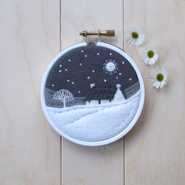 Monochrome Mini Landscape with Cottage Framed Hoop Art Embroidery (Style C)